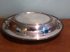 Antique Vintage Kitchen Silver Plated Oval Covered Vegetable Serving Dish