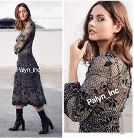 NWT ZARA AW16 LONG SLEEVE FLORAL LACE MIDI DRESS CROCHET LINED 2731/253_XS S M