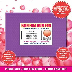 Prank Mail PAIN FREE BUM FUN 100% anonymous prank - RUDE send to your mate 05
