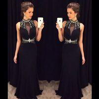 Neu schwarz Chiffon Perlen Brautkleider Hochzeitskleid Ballkleid Abendkleider