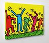 👍 Quadro Pannello HARING Dancers Ballo Pop Stampa su Tela Vernice Pennellate 🎨