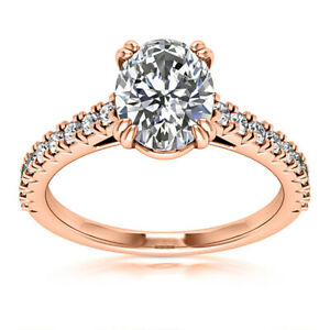 Solitaire 1.70 Carat VS2/H Oval Cut Diamond Engagement Ring 14k Rose Gold