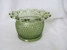 Imperial Glass green diamond crocheted lace bowl vase