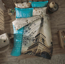 100% Cotton,Paris Eiffel Tower Duvet Cover Set, Full/Queen,7pcs,Fitted Sheet Inc