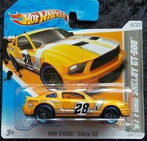 HOT WHEELS '07 FORD SHELBY GT-500 HW CODE Cars 12 #28 - YELLOW -SHORT CARD - NEW