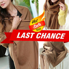 Brown Soft Knit Women Winter Long Scarf Wrap Blanket Oversized Shawl Solid Color