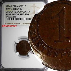Germany Wiemar Bronze 1924-A 1 Reichspfennig MINT ERROR NGC AU58 BN KM# 37 (093)