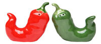 Red Hot and Green Chili Peppers Salt and Pepper Shakers Set
