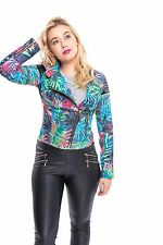 Womens Ladies Biker Celebrity Camo Flower FLoral Print Bomber Jacket Size 6-16