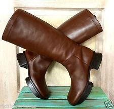 Prada Boots brown leather VTG Retro Riding Moto platform pull on tabs EUC 39