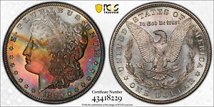 1880-S Morgan Dollar PCGS MS66 CAC Gorgeous Red Blue Colorful Rainbow Toned