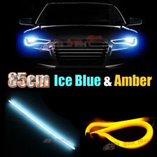 2x 85cm Amber & Crystal Blue Switchback Angel Eyes LED Strips DRL & Turn Signal