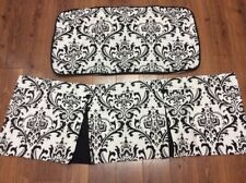 """BLACK AND WHITE SHAM 1 KING & VALANCE 49"""" X 18"""" SCROLL FLORAL PLEATS CUSTOM MADE"""