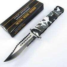 SPRING-ASSIST FOLDING POCKET KNIFE Tac-Force Winter Camo Serrated Rescue Blade