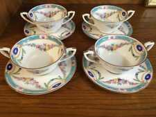 Gorgeous Royal Worcester Puritan Cream Soup and Saucers x 4 VHTF  England