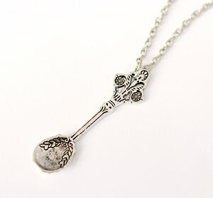 Alice in Wonderland Jewelry-Antique Silver Tea Spoon Necklace- Vintage Jewellery