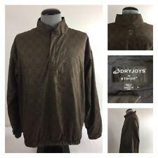 DryJoys by FootJoy Mens L L/S 1/4 Zip Golf Jacket Gold Black Check Fairway Coat