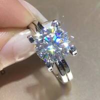 3 Ct Round Cut Moissanite Solitaire Engagement Ring Solid 14K White Gold Finish
