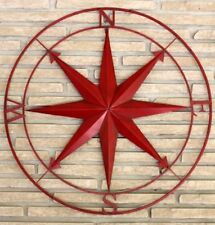NEW 90 cm RED STAR COMPASS METAL CIRCLE WALL ART DECOR