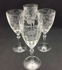 Etched Vintage Glass Goblet Stems (set of 4) - Clear Glass with etched designs