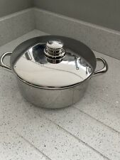 STELLAR COOKWARE STAINLESS STEEL 18cm DOUBLE HANDLED SAUCEPAN WITH LID - used
