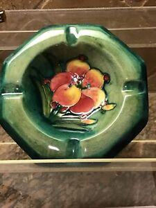 "Vintage Moorcraft Green Pottery Cigarette Ash Tray 4 1/4"" Flower Design"