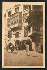 C1920s View of Man with Horse & Cat, Houses, Street in Cairo, Egypt