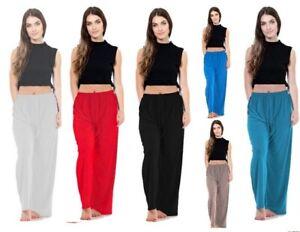 Womens ITY Palazzo Flared Wide Leg Ladies Baggy Trouser Pant Plain Trouser UK