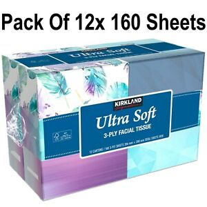 Kirkland Signature 3 PLY Facial Tissues Ultra Soft Pack Of 12x160 Sheets