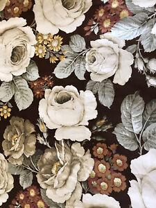 Vintage Sanderson 'Sibyl' Chestnut Brown & Ivory Cabbage Roses Cotton FQ 56x51cm