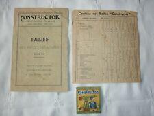 Tarif des pièces détachées CONSTRUCTOR février 1955 + contenu des boîtes sachet