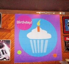 Purple Fabric BIRTHDAY Wall Banner CUPCAKE WITH CANDLE Circles TOYS R US Display