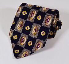Club Room Silk Tie, Diamond Gem Pattern (Navy, Purple, Golden Tan) USA