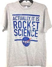 NASA T-Shirt Tee New Men's Medium Gray Rocket Science 90% Cotton