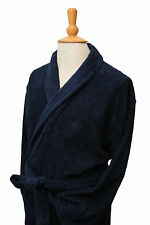 Men's Bown of London Terry Towelling Navy Dressing Gown - 100% Cotton