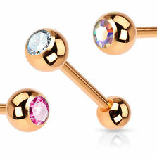 New Gold Plated Gem Tongue Bar Barbell Stud Tounge Piercing Opal 12mm 14mm 16mm