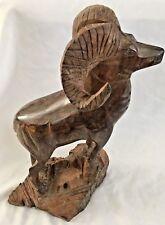 """Wood Carved 17 3/4"""" Big Horn Sheep Ram Standing Tall Art Sculpture"""