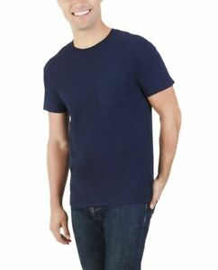 NEW! PACK OF 2 - Fruit Of The Loom Platinum Men's Pocket T-Shirt, Large, Navy