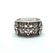 Marcasite Flower Trio Band Ring 925 Sterling Silver 10.1g