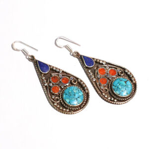 """Turquoise Lapis Coral Gemstone 925 Sterling Silver Jewelry VE-27 Earring 1.7"""""""