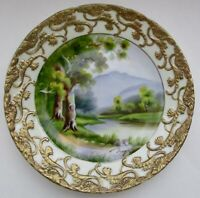 Vintage Ucagco China Plate Hand Painted Water Trees Scenery Japan Artist Signed