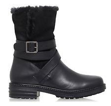Kurt Geiger Soldier Womens UK 4 Black Biker Style Suede / Leather Faux Fur Boots