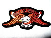 """4""""x2"""" EAGLE HELL ON WHEELS MOTORCYCLE/BIKER EMBROIDERED SEW OR IRON ON PATCH"""