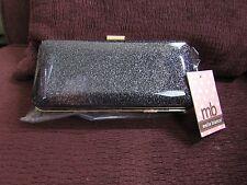 "Melie Bianco ""Lvette"" Clutch w/Chain Black w/Silver Bag Purse Handbag"