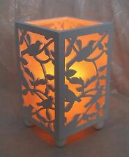 Vintage LOOK Decorative White Wooden Filagree Bird Lantern LED Candle-new