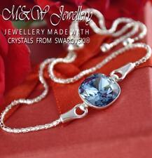925 Silver Adjustable Bracelet Crystals From Swarovski® FANCY STONE Denim Blue