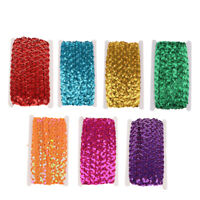 13m Sequins Beaded Lace Trim Ribbon For Bridal Dress DIY Sewing Craft 1.5cm
