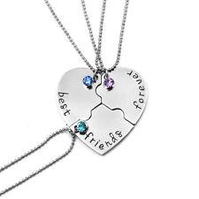 Best Friends Forever Pendant Necklace Friendship Women Men BFF Love Heart 3PC