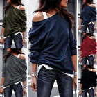 Women Long Sleeve Cold Shoulder Solid T Shirt Casual Loose Blouse Tunic Lot Tops