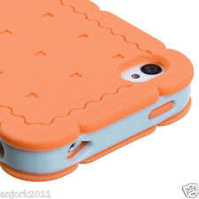 iPhone 4 4S Hybrid Cookie Case Silicone Skin Pastel Cover Orange Baby Blue